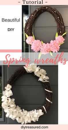 Love these beautiful flower wreaths! Free tutorials to make your own. Easy to do. #wreath #diy #decor | tutorial | wreath idea | spring decor | farmhouse | rustic | cottage | flower craft | fabric flower | paper flower | how to |