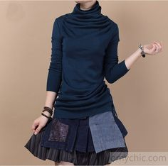 Royal blue Woolen Tunic sweater