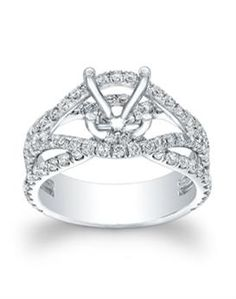14KT White Gold Fancy Round Diamond Semi-mount Engagement Ring
