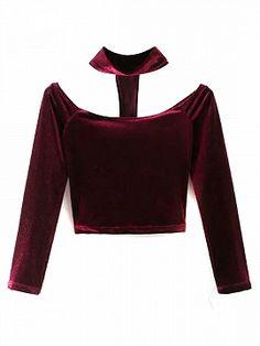 Burgundy Velvet Choker Neck Off Shoulder Long Sleeve T-shirt Off Shoulder T Shirt, Shoulder Tops, Velvet T Shirt, Women's Mini Skirts, Kpop Fashion Outfits, Neck Choker, Velvet Tops, Tee Dress, Long Sleeve Crop Top