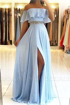 Simple light blue evening dresses from the shoulder Elegant chiffon evening dresses . Stunning Prom Dresses, Pretty Prom Dresses, Chiffon Evening Dresses, Prom Dresses Blue, Cheap Prom Dresses, Elegant Dresses, Sexy Dresses, Beautiful Dresses, Summer Dresses