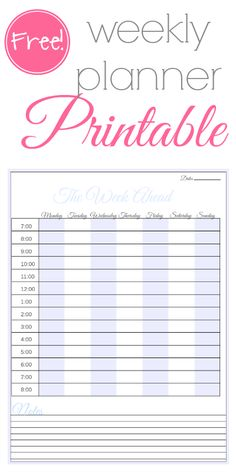 Free Weekly Family Planner Printable #organization #printable #DIY