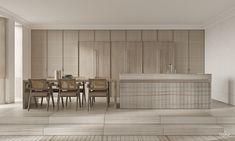 """TOL'KO / """"LINEN FLAT"""" on Behance Kitchen Interior, Modern Interior, Home Interior Design, Interior Architecture, Küchen Design, House Design, Luxury Kitchens, Chandigarh, Minimalist Home"""