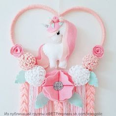 Mini Heart Unicorn Dream Catcher In Pinks white and mint Felt Crafts, Diy And Crafts, Crafts For Kids, Arts And Crafts, Unicorn Birthday Parties, Unicorn Party, Unicorn Rooms, Baby Mobile, Unicorn Crafts