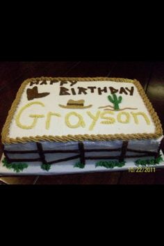 Cowboy Birthday Cake - Red or Tan or Brown frosting though