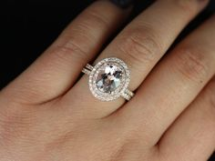Original Cara 14kt Rose Gold Thin Oval Morganite Double Halo Wedding Set (Other metals and stone options available) $2400
