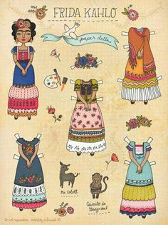 Paper Doll of Frida Kahlo. Although the dolls are no longer available on Etsy, the cover image is fantastic. Diy With Kids, Frida And Diego, Frida Art, Frida Kahlo Artwork, Buch Design, Diego Rivera, Illustration, Vintage Paper Dolls, Mexican Art