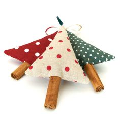 Country Christmas Tree Ornaments Rustic Polka Dot Cinnamon Christmas Decorations Set of 3 £12.00