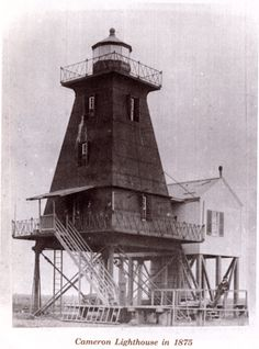 Some of my ancestors were lighthouse keepers and workers in Southwest La. & Southeast Texas area, including this one - the Cameron Lighthouse - keeper Benjamin Crossman. I have a model of this lighthouse on my mantle that he made from wood, mud, and shells.