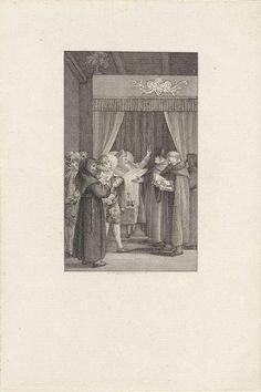 Reinier Vinkeles | John Wyclif berispt enkele monniken, Reinier Vinkeles, 1809 | De Engelse theoloog John Wyclif berispt vanuit zijn ziekbed de monniken die bij hem staan.