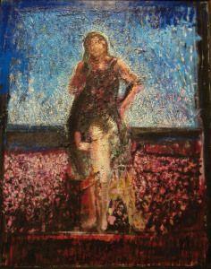 Ruggero Savinio spiaggia 1-1993 olio su tela 100x90cm
