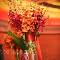 Orange and Red Centerpieces
