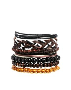 ASOS Leather Plait and Bead Bracelet Pack