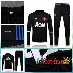 Manchester United Survetement Football 16-17 Homme Noir Haute Collier