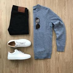 What does your outfit look like today? Please rate this outfit below ⤵️ Sweater: A-DAYS-MARCH Storm Blue Cashmere Jeans: Kato brand Shoes: Greats The Royale Shades: TOM FORD . Daily Fashion, Mens Fashion, Casual Outfits, Men Casual, Tomboy Outfits, Casual Chic, Look Man, Mein Style, Herren Outfit