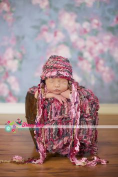 The latest hat and blanket from CricketsKnits for newborn girl portraits (baby shower gift idea)!