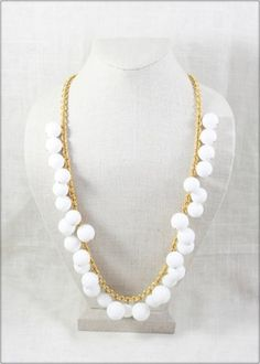 LouLouBoutiques - White Bauble Necklace