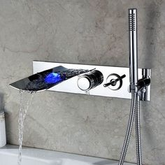 Kokols Wall Mount LED Waterfall Tub Faucet and Hand Shower | Overstock.com…