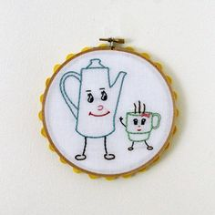 Embroidery Hoop Art - Pot and Cup