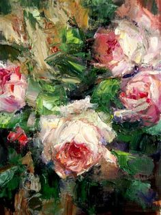 """Palette Knife Roses"" - Original Fine Art for Sale - © Julie Ford Oliver"