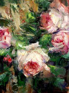 """""""Palette Knife Roses"""" - Original Fine Art for Sale - © Julie Ford Oliver"""