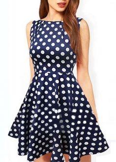 Lovely Dot Print Round Neck Sleeveless A Line Dress