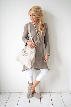 PARIS Knitted Dress, NATURAL
