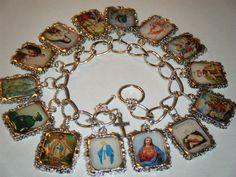 Catholic Saints Altered Art Bracelet by HiddenValleyJewelry Charm Jewelry, Jewelry Crafts, Jewelry Art, Vintage Jewelry, Charm Bracelets, Antler Jewelry, Vintage Necklaces, Vintage Diy, Wire Jewelry