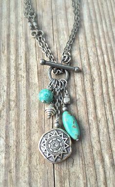 Long Boho Silver Necklace Turquoise Necklace Boho Jewelry by Lammergeier on Etsy…