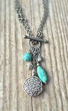 Long Boho Silver Necklace Turquoise Necklace Boho Jewelry by Lammergeier on Etsy https://www.etsy.com/listing/206376112/long-boho-silver-necklace-turquoise