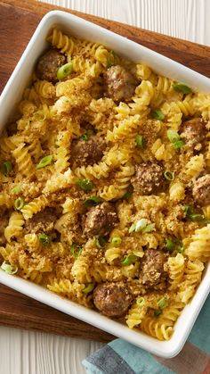 How to make mac and cheese even better? Just add meatballs! This easy casserole will please even the pickiest of eaters, thanks to approachable ingredients like cheddar cheese, rotini pasta and pre-made Italian meatballs.