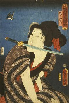 剣を持つ女性歌川国貞江戸(徳川)の期間(1615から1868年)紙ヨルダンシュニッツァー美術館での垂直方向のオーバンフォーマット、インクとカラーで、1859年浮世絵木版画を飲み込みます