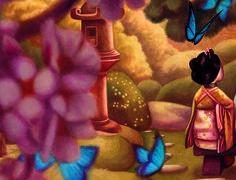 En Madama Butterfly Benjamin Lacombe reinterpreta el famoso drama romántico, presentando a un Pinkerton atormentado por los remordimientos. Este álbum ilustrado, encuadernado en forma de biombo, esconde en el reverso de sus páginas un delicado fresco, ejecutado a lápiz y óleo, de 10 metros de largo. Edelvives presenta Madama butterfly entre sus novedades de otoño 2014. Fresco, Oriental, Butterfly, Illustration, Painting, Art, Shape, Dressing Screen, Literatura