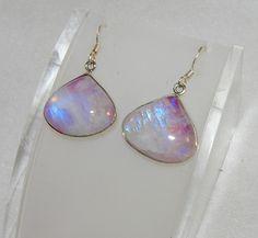 Rainbow Moonstone Pink Teardrop Dangle Earrings Sterling Silver