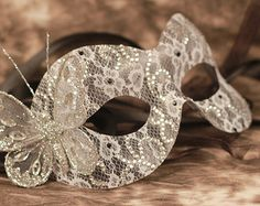 Wedding Masquerade Mask Silver Butterfly & by TheatricalThread