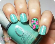 Put this rose nail art design on your accent nails and polka dots on all the rest! So cute! Enjoy!