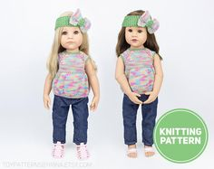 Clothes for Gotz Doll Knitting Pattern for Standing Dolls | Etsy Sweater Knitting Patterns, Hand Knitting, Star Clothing, Handmade Shop, Handmade Items, Gotz Dolls, G 1, Moss Stitch, People Shopping