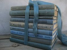 Vintage Blue French Books