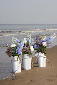 Flowers in milk can-lovely for Beach Wedding www.MadamPaloozaEmporium.com www.facebook.com/MadamPalooza