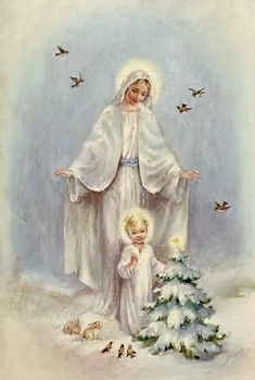 Blessed Virgin Mary and Baby Jesus Religious Pictures, Jesus Pictures, Religious Icons, Religious Art, Christmas Scenes, Christmas Images, Christmas Art, White Christmas, Xmas