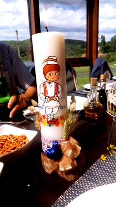 Handmade by Do : Christening boy candle, traditional Romanian desig. Pint Glass, Christening, Candles, Traditional, Tableware, Handmade, Design, Dinnerware, Hand Made