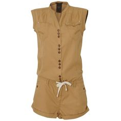 G-STAR Safari Playsuit ($51) ❤ liked on Polyvore featuring jumpsuits, rompers, dresses, playsuit, shorts, nepal gold, jump suit, romper jumpsuit, brown romper and playsuit romper