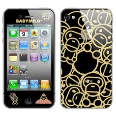 iPhone 4 / 4S Gold Baby Milo Babe Vinyl 2-in-1 Stickers / Protective Film - Front Back  - $6.89