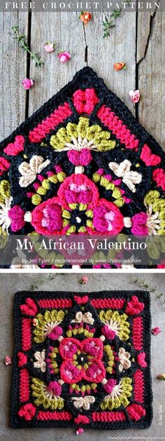 My African Valentino Free Crochet Pattern #crochetpatterns #africansquare