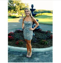 Monica looking picture perfect wearing #SCALA 48331 Lead/Silver. #ScalaUsa #Homecoming2K14 #HomecomingDress