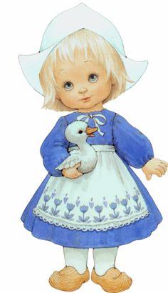 Little Dutch Girl by Ruth Morehead Illustration Mignonne, Cute Illustration, Munier, Greeting Card Companies, Image Digital, Sarah Kay, Holly Hobbie, Thinking Day, Vintage Cards