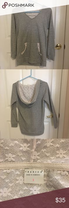 Grey and white lace hooded sweatshirt Lightweight hoodie with delicate lace detailing. Worn once. Comfortable and flattering. Modcloth Tops Sweatshirts & Hoodies