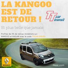 Seulement 7 jours pour profiter de 5% de remise sur Kangoo et Kadjar avec le code TTCAR-SOLEIL #ttcar #ttcartransit #expat #expatlife #kangoo #kadjar Le Code, France, Location, Sun, French Resources