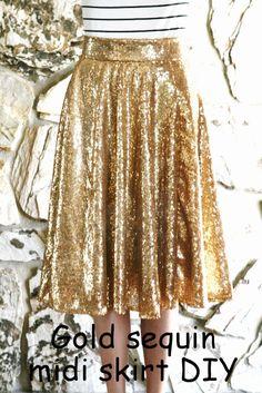 DIY: Gold sequin circle midi skirt