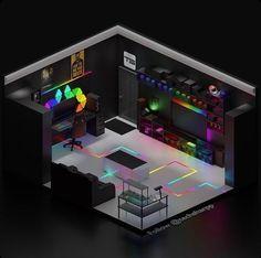 Computer Gaming Room, Gaming Room Setup, Pc Setup, Gamer Setup, Gamer Bedroom, Bedroom Setup, Small Game Rooms, Hypebeast Room, Otaku Room
